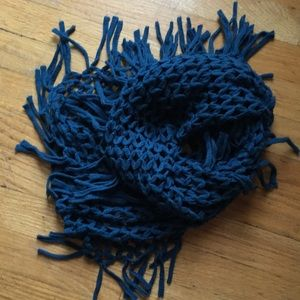 Teal blue knit infinity scarf